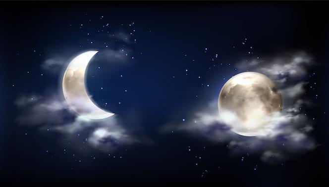 Luna piena e mezzaluna nel cielo notturno con nuvole