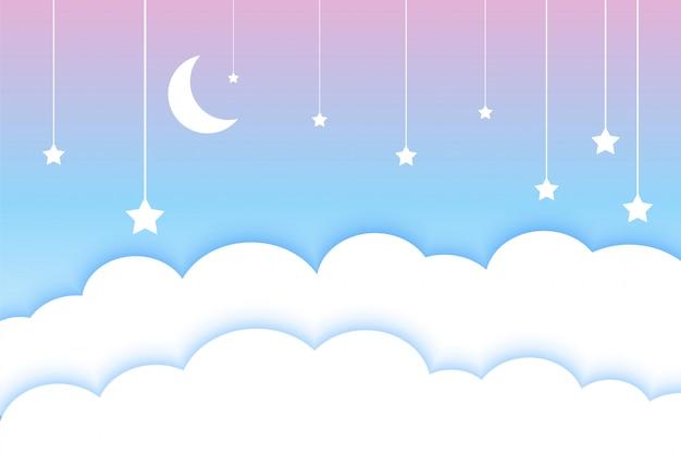 Luna stelle e nuvole sfondo colorato stile papercut