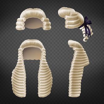 Lunghi e corti uomini del xviii secolo ricci parrucche o perukes davanti e vista laterale