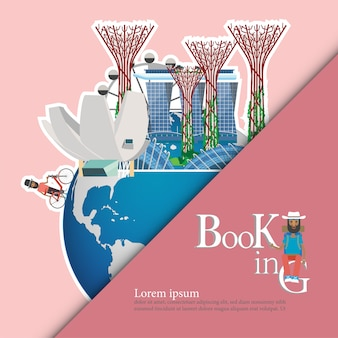 Luoghi d'interesse di singapore sul globo. concetto di viaggio di singapore