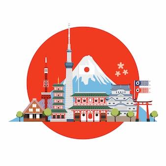 Luoghi e punti di riferimento del viaggio in giappone. cartolina di viaggio, pubblicità turistica del giappone.