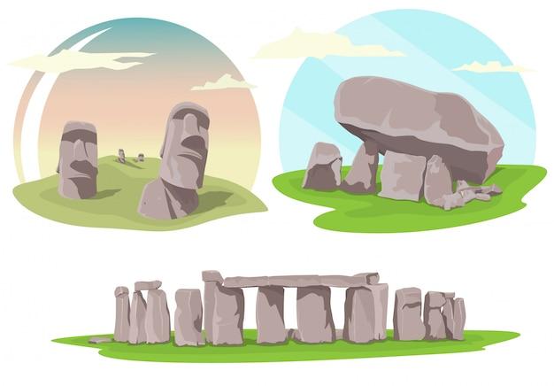 Luoghi famosi di viaggio, stonehenge, isola di pasqua e dolmen brownshill
