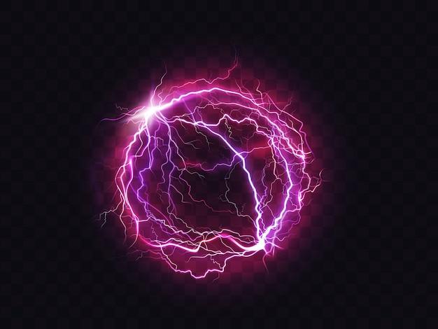 Luogo di impatto del colpo di fulmine della sfera elettrica