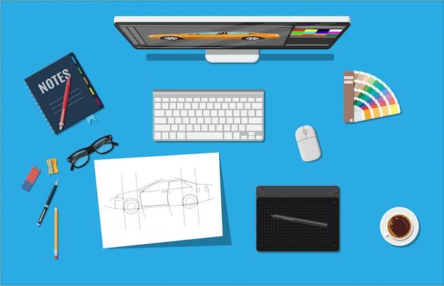 Luogo di lavoro del designer. desktop illustrator con strumenti