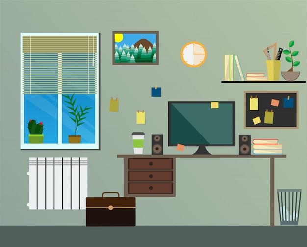 Luogo di lavoro design piatto moderno in camera.