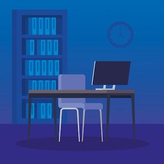 Luogo di lavoro scena con scrivania e computer