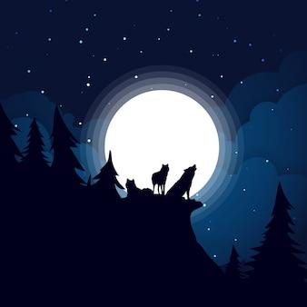 Lupo alla luna piena durante la notte buia