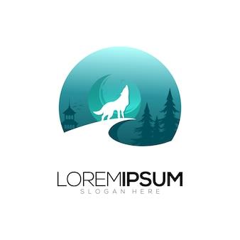Lupo logo design vettoriale