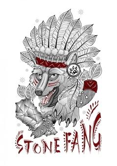 Lupo sciamano spaventoso con un'ascia di pietra