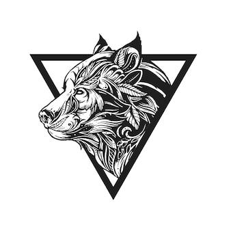 Lupo tribale tatuaggio disegno ornamento illustrazione vettoriale