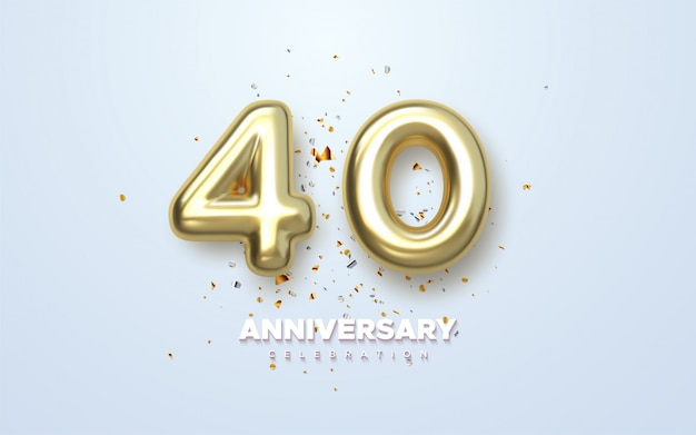 Lusso golden 40 ° anniversario, logo minimalista. 40 ° anniversario, cartolina d'auguri.