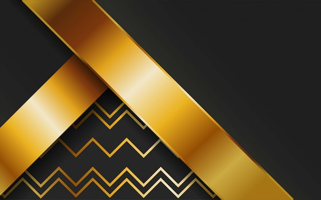 Lusso premium oro astratto sfondo vettoriale con linea oro. strati sovrapposti con effetto carta. modello digitale. effetto della luce realistico su sfondo texture linea oro.
