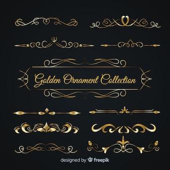 Lussuosa collezione di ornamenti dorati