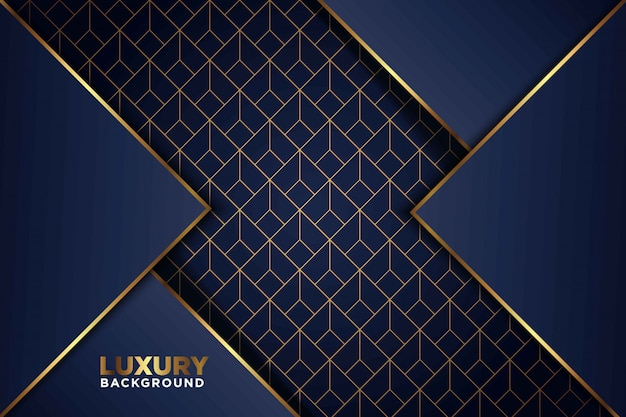 Lussuosa freccia di linea oro blu scuro si sovrappone con lo sfondo di combinazione di reticolo a maglie rettangolari. elegante sfondo tecnologia futuristica moderna