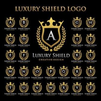 Luxury shield logo in set alfabetico
