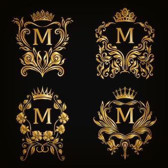 M lettera logo set, stile vittoriano