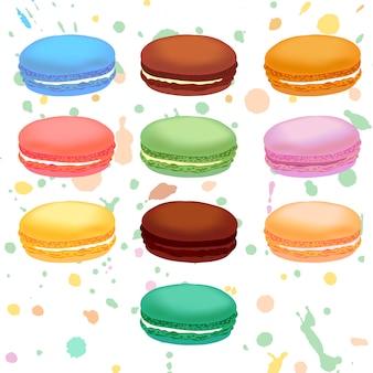 Maccheroni francesi colorati differenti. illustrazione.