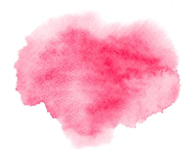 Macchia acquerello rosa con macchia di vernice, pennellate.