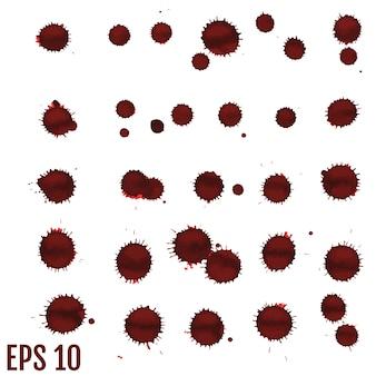 Macchia di sangue, gocce rosse, schizzi di arte dipinta