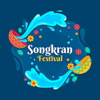 Macchie d'acqua dall'evento songkran delle ciotole
