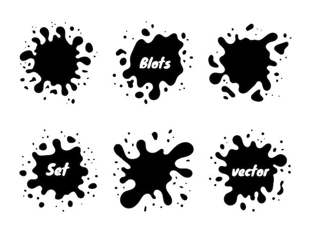 Macchie impostate su sfondo bianco. set di schizzi di vernice. illustrazione. distintivi, modelli di design emblema.