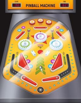 Macchina del gioco della composizione nel flipper colorata e del fumetto nel centro di intrattenimento