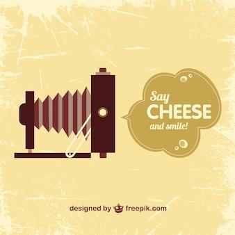 Macchina fotografica d'epoca dire template formaggio