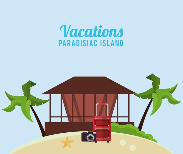Macchina fotografica della valigia della capanna di isola paradisiaca di vacanze