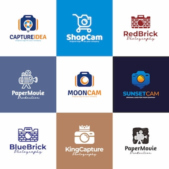 Macchina fotografica, fotografia logo design. collezione di design unico logo creativo.