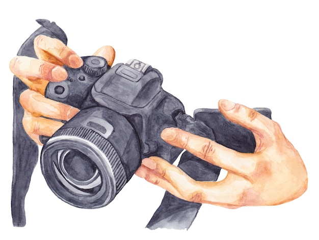 Macchina fotografica nell'illustrazione dell'acquerello delle mani isolata su fondo bianco