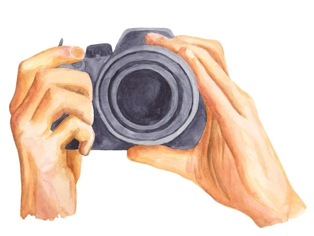Macchina fotografica nell'illustrazione dell'acquerello delle mani