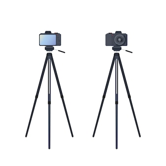 Macchina fotografica su un treppiede isolato. la fotocamera è montata su un treppiede anteriore e posteriore. vettore.