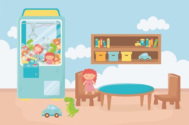 Macchina per artigli scaffale tavolo sedie giocattoli camera
