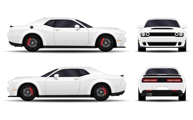 Macchina realistica. muscle car. vista laterale, vista posteriore, vista frontale.