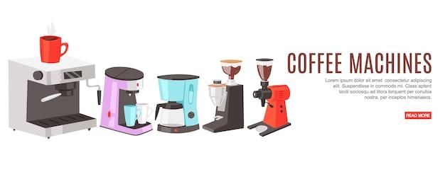 Macchine da caffè con iscrizione, colorate, officina meccanica, sito di ordini, illustrazione, su bianco.
