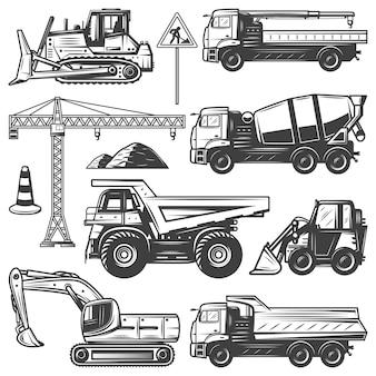 Macchine edili d'epoca con gru escavatore bulldozer costruzione betoniera e autocarri con cassone ribaltabile isolati