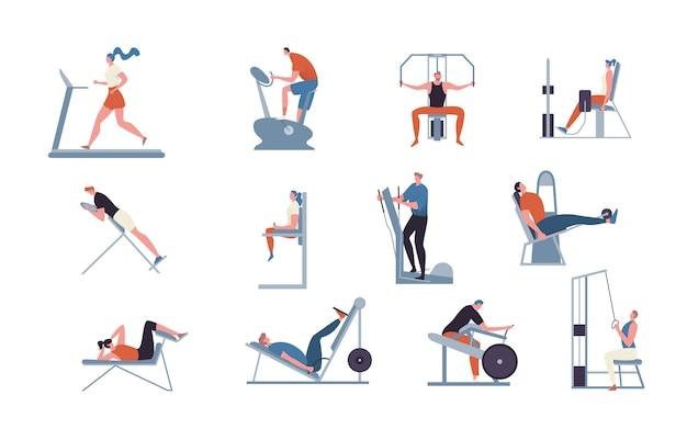 Macchine per esercizi per palestra, illustrazione, persone che si allenano in palestra, sport, bodybuilding e allenamento, stile piatto.