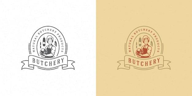 Macelleria negozio logo illustrazione vettoriale chef che tiene la sagoma di carne buona per agricoltore o ristorante badge