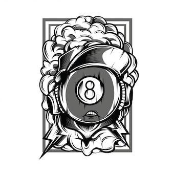Madball eight illustrazione in bianco e nero