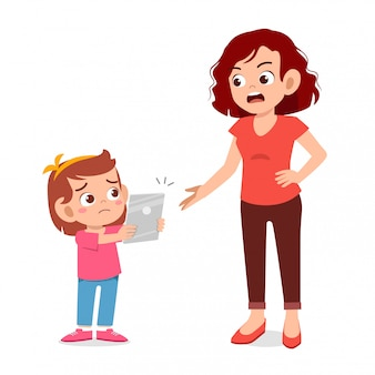 Madre arrabbiata per la dipendenza da smartphone ragazza