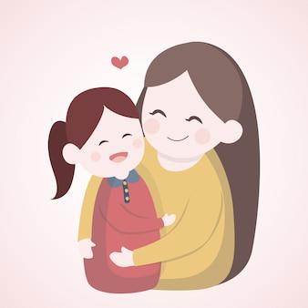 Madre che abbraccia con sua figlia
