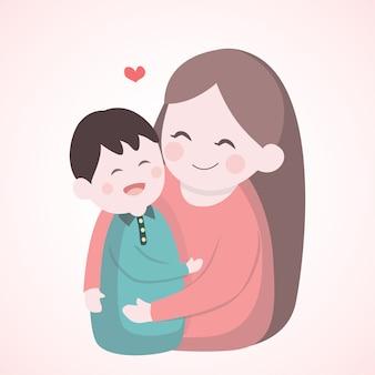 Madre che abbraccia con suo figlio