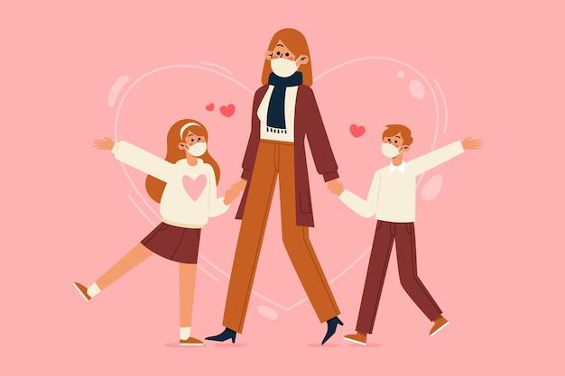 Madre che cammina con i bambini che indossano la maschera di protezione
