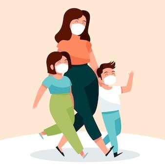 Madre che cammina con i loro bambini con maschere mediche