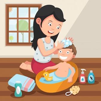 Madre che lava i capelli di suo figlio con illustrazione di amore