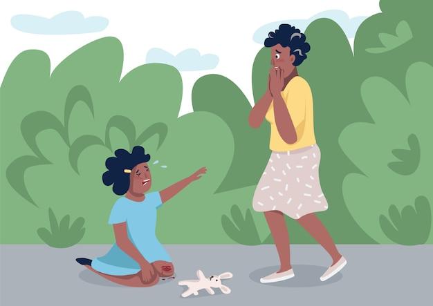 Madre con l'illustrazione di colore piana della figlia gridante