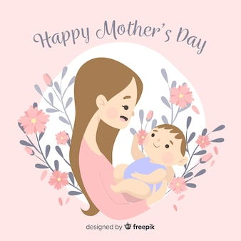 Madre con la sua priorità bassa di giorno di madre del bambino