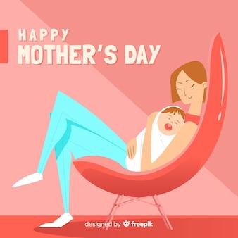 Madre con lo sfondo del giorno della madre del bambino addormentato