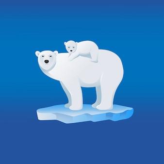 Madre dell'orso polare con il suo bambino sul retro, personaggio dei cartoni animati.