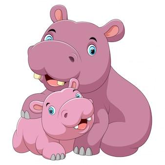 Madre di ippopotamo carino con ippopotamo bambino
